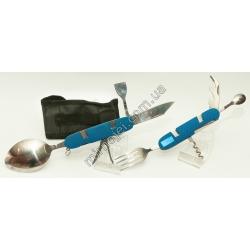 L48 (синий) Складной походный столовый прибор
